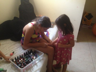 painting Zoe's nails