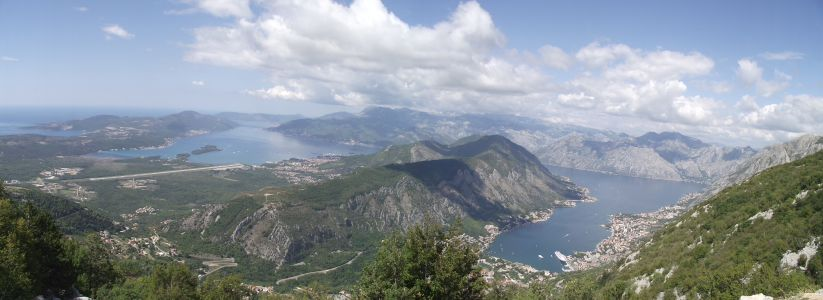 view of Kotor bay and Tivat Bay